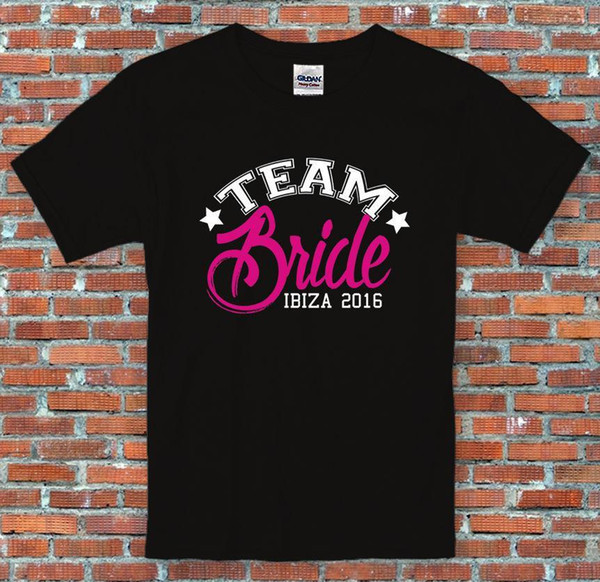 Hen Party Team Bride Marriage Personalised Text Funny Black T Shirt S-2XL