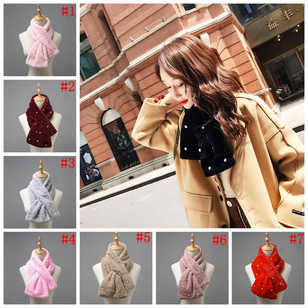 Woman Winter Scarf Faux Fur Stoles Imitation Rex Rabbit Fur Scarves Warm Fluffy Thick Cross Shawl Neck Scarf Fake Fur Collar 7 Color OOA4371