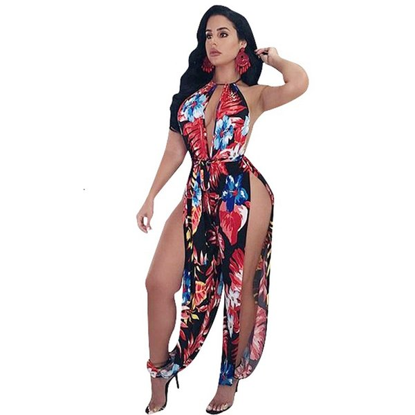 Party Club Romper Halter Side Split Harem Jumpsuit Sexy Women Spaghetti Strap Floral Print Rompers Hollow Out Loose Playsuit