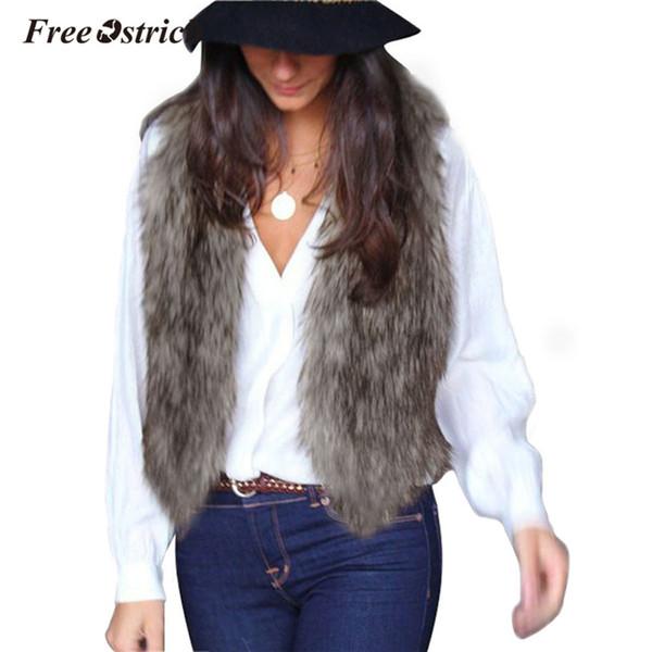 Free Ostrich Winter Faux Fur Vest Women Sleeveless V-Neck Casual Short Cardigan Nature Colour Outerwear Warm Coat U20