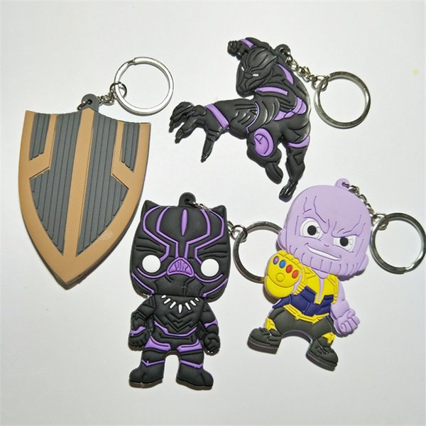 Nicely 4 Style Avengers 3 : Infinity War Keychain 2018 New movie Thanos Black Panther Groot PVC Key Chain toys 6cm Key Rings