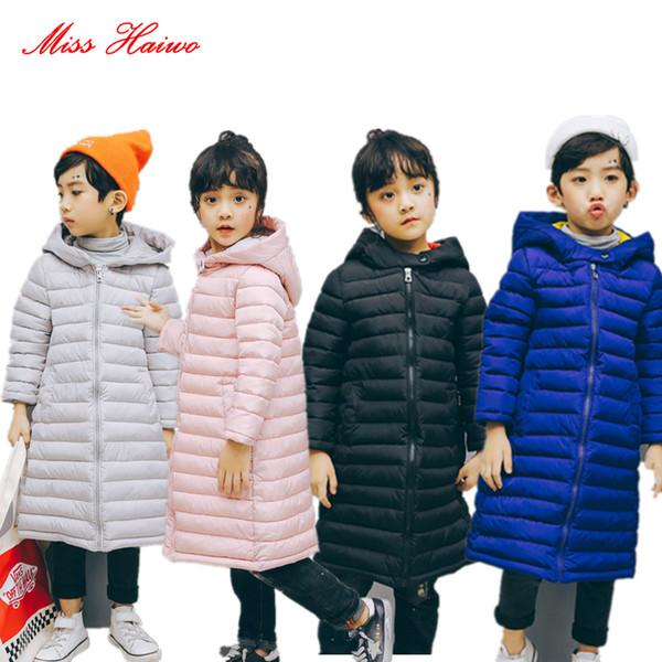 2018 Crianças Casacos Meninos Meninas Inverno Casaco Para Baixo Do Bebê Inverno Curto Crianças Outerwear Casaco Com Capuz Snowsuit Casaco Longo Casaco