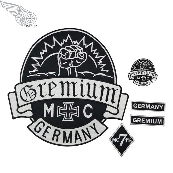 GREMIUM Almanya Işlemeli Yamalar Tam Arka Boyutu Yama Ceket Demir On Giyim Biker Vest Rocker Yama için