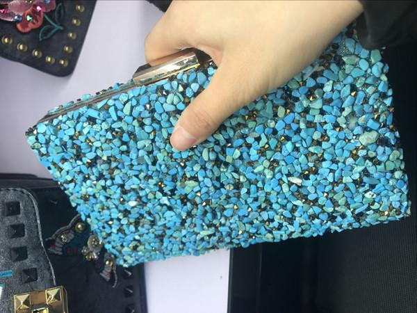 top popular Blue Stone Woman Small Cluth Lady box Handbag 2019