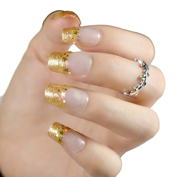 24pcs/set Gold Glitter Long Fake Nails Patch French False Nail Long Full Cover Nail Art Tips for women girl lady