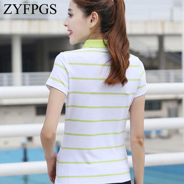 Zyfpgs 2018 рубашки полоса с коротким рукавом женщина самосовершенствование мода досуг классический летний топ Z0523