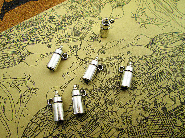 18pcs 15*5*5mm antique silver baby Feeding bottle charms pendant