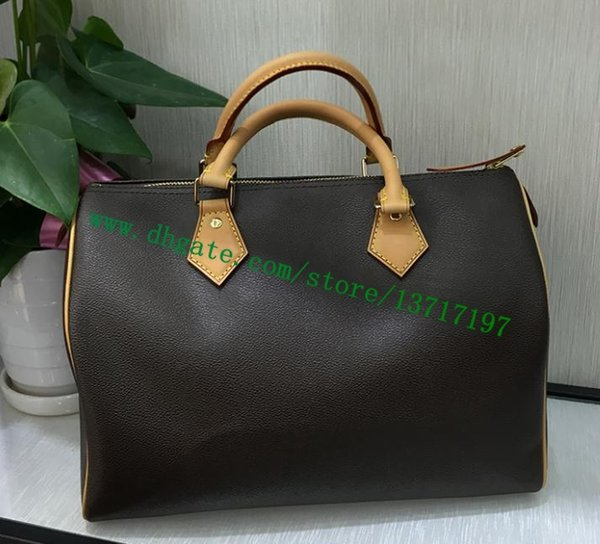 Top Grade Brown Canvas Coated Real Leather Lady Pillow Bag SPEEEDY 35 M41107 Women Top Handle Handbag Cosmetic Pack