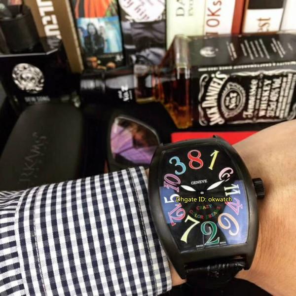 Новый 7 стиль высокого качества Сумасшедшие часы Цветные сны Black PVD Автоматическая Мужские часы 8880 CH NR COL DRM черный циферблат кожаный ремешок Мужские часы