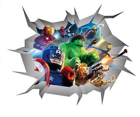 New Cartoon The Avengers 3D Broken Wall Decals PVC Hulk Ironman Superhero Wall Stickers Poster for Kids Room Nursery Decoration
