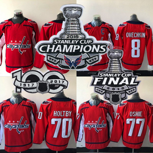 new concept 778ea 1c479 2019 Womens 2018 Stanley Cup Champion Patch Washington Capitals Jersey 8  Alex Ovechkin 70 Braden Holtby 77 T.J. Oshie Blank Hockey Jerseys From ...