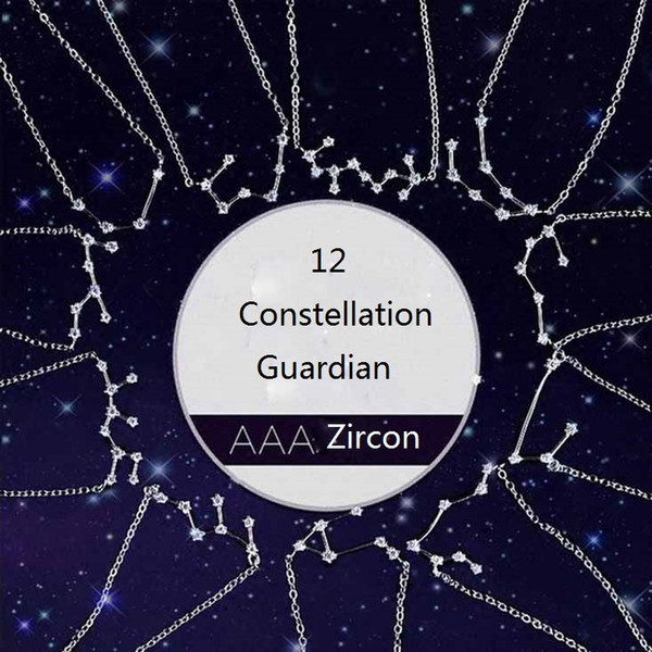 best selling Crystal 12 Constellation Pendant Necklaces for Women Ladies Zircon Chain Necklace Jewelry Valentine's Day Birthday Gift for Girlfriend