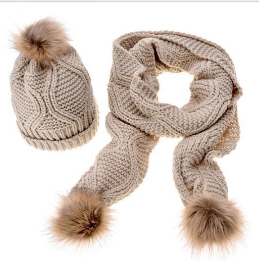 Children Women Pompom Hat Winter Warm Parent-Child Knitted Hat Scarf Set Solid Gray White Black Beanies Hats Nature Fur Pompon