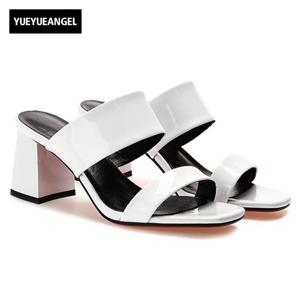 2018 Yaz Yeni Kadın Kalın Topuklu Slaytlar Ayakkabı Moda Marka Yüksek Kaliteli Deri Sandalet Kadınlar Kırmızı Beyaz Siyah Slip On Sandalet