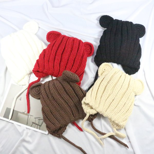 Unisex New Winter Baby Hat with Ears Girls Cute Hats for Kids 2018 Hot sale Infant Caps Toddler Knit Cap Boys Girls Christmas Hats Y552