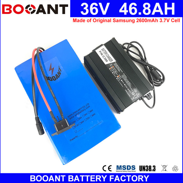 BOOANT for Bafang 1500W Motor Electric Bicycle Battery Made of Samsung 18650 36V 46.8AH E-Bike Li-ion Battery with 5A Charger