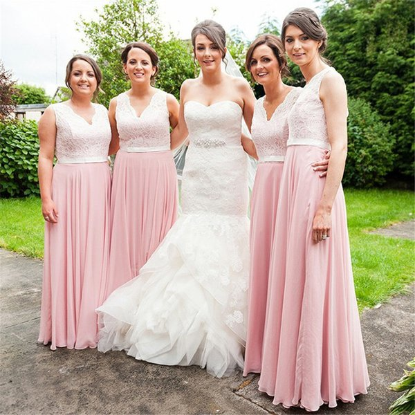 A Line Long Bridesmaid Dress V Neck Sleeveless Chiffon Lace Floor Length Belt Formal Vestidos De Maid Of Honor Dresses For Wedding Guest