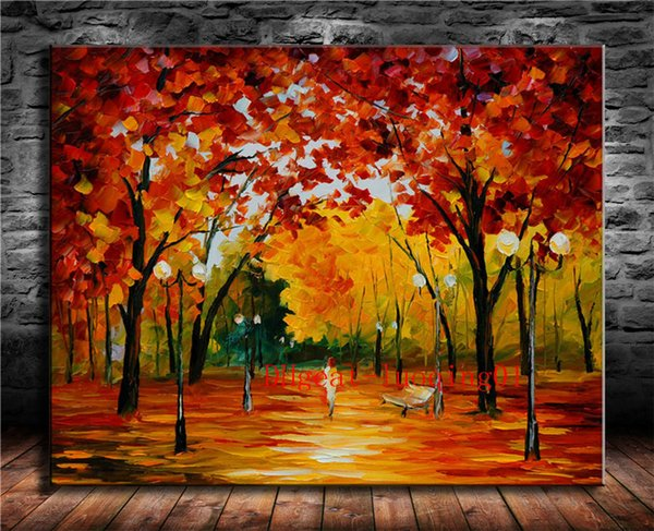 Girl Under Red Maple Tree , Canvas Pieces Home Decor HD Printed Modern Art Painting on Canvas (Unframed/Framed)