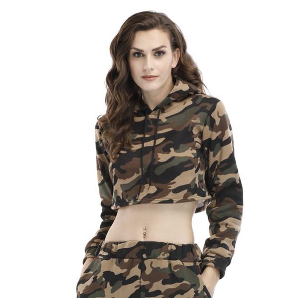 Hot Casual Women Hoodies 2018 Autumn Winter Long Sleeve Camouflage Crop Tops Hooded Pullover Plus Velvet Short Sweatshirts