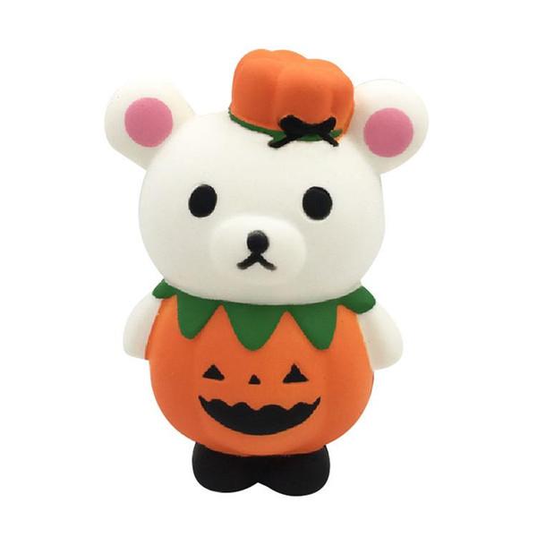 Melhor presente Halloween squishy 13 cm Abóbora Adorável urso Squishy Lento Subindo Halloween Squeeze Descompressão Toy Kids cartoon Novidade brinquedos
