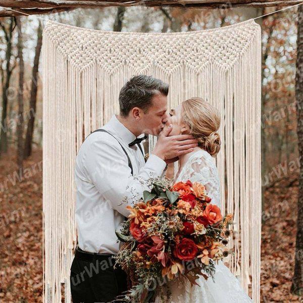 "Ourwarm Macrame Wedding Backdrop Curtain Wall Hanging Boho Wedding Hanger Cotton Handmade Wall Art Home Wall Decor 39 ""*45 """