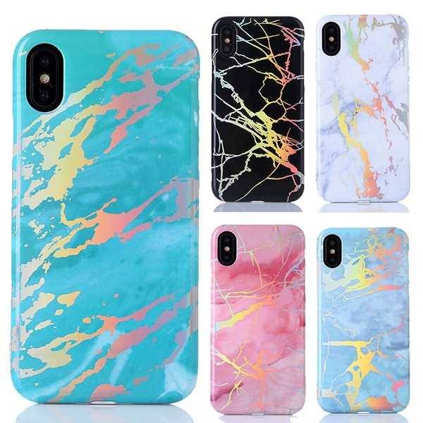 Chrome Marble Texture Case Shining Cover Laser Soft TPU Gel Plated Rainbow For iPhone XS Max XR X 8 7 6 Plus Samsung Galaxy Note 9 S9 S8 S7