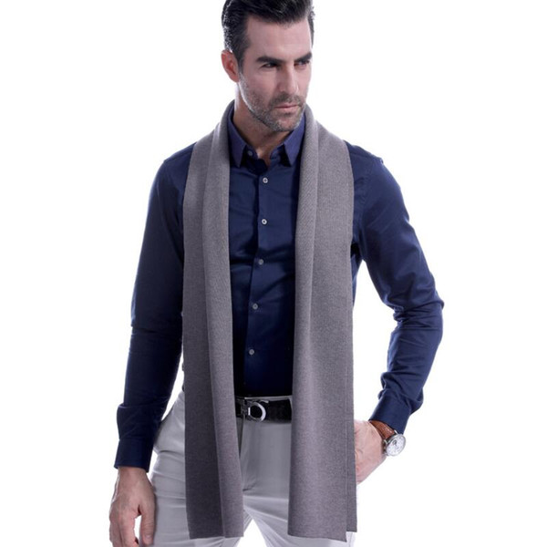 8 Solid Color Men Cashmere Scarf Winter Fashion Brand Scarf 2018 New Best Christmas Gift Wool Muffler Man Casual Scarves Warps Free Shipping