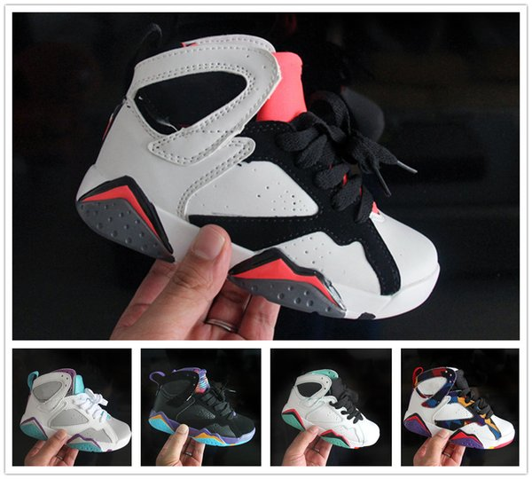 2018 kids Basketball shoes 7s Blackout Win Like Black Stingray Children 7 Sneaker Shoes youth boys girls running shoes Free Shipping