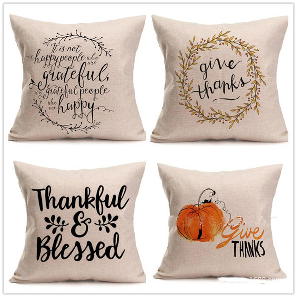 best selling Happy Thanksgiving Day Pillow Covers Fall Decor Cotton Linen Give Thanks Sofa Throw Pillow Case Home Car Cushion Covers 45*45cm