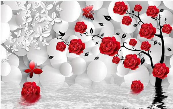 Personnalisé Photo Papier Peint 3D Stéréo Original 3d sphère fond rose arbre réflexion TV fond mur Mur Mural Papier Peint Peinture