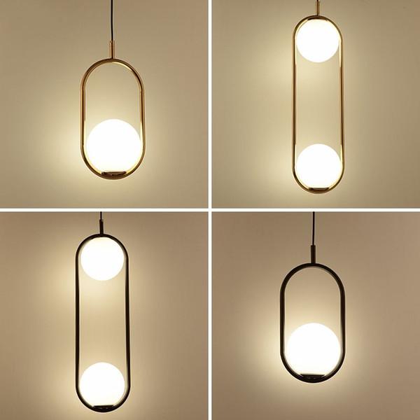Nordique Minimalisme Globe En Verre Led Pendentif Lumière Salle À Manger 1 Lumière 2 Plaque Lumière En Métal Pendentif Lampe Suspension Suspension Suspension Lampe