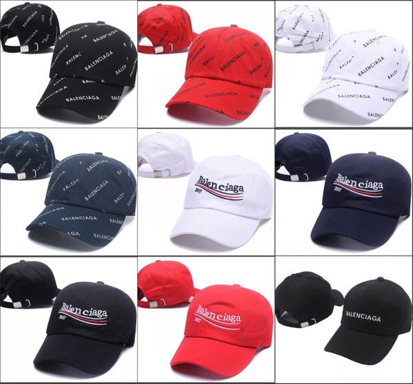 2018 BNIB Dalga kola logosu 17FW Homme Bayanlar Mens Unisex Kırmızı Beyzbol kapaklar şapka beyaz strapback siyah yaşıyor madde nakış mektubu Şapka