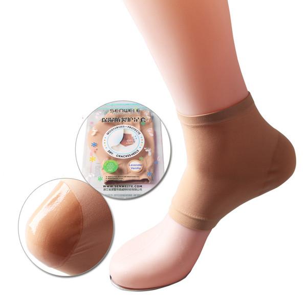 Влаги анти-трещины ног крышка увлажняющий пятки носки с силиконовым гелем пятки колодки стельки пятки лопнул ноги protecter с розничной упаковке