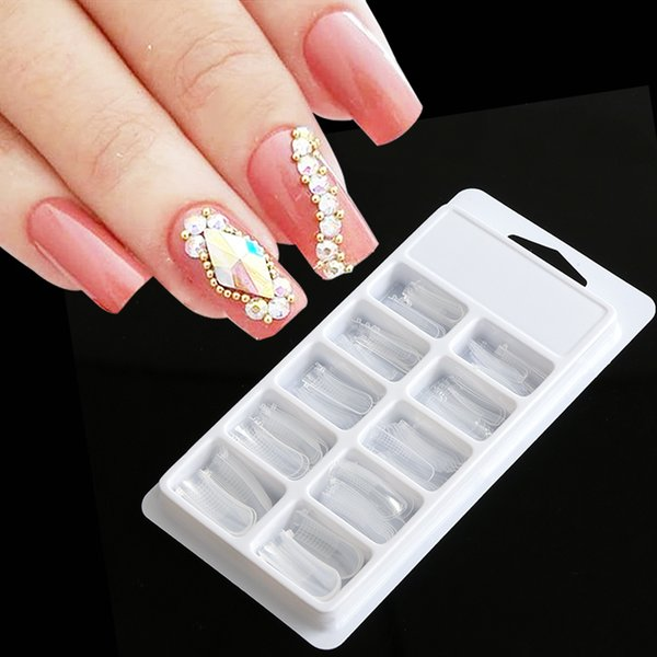 100pcs Quick Building False Nail Tips Mold Form Dual Extension Full Cover Nail Manicure for UV Builder Poly Gel Decoration JIA23