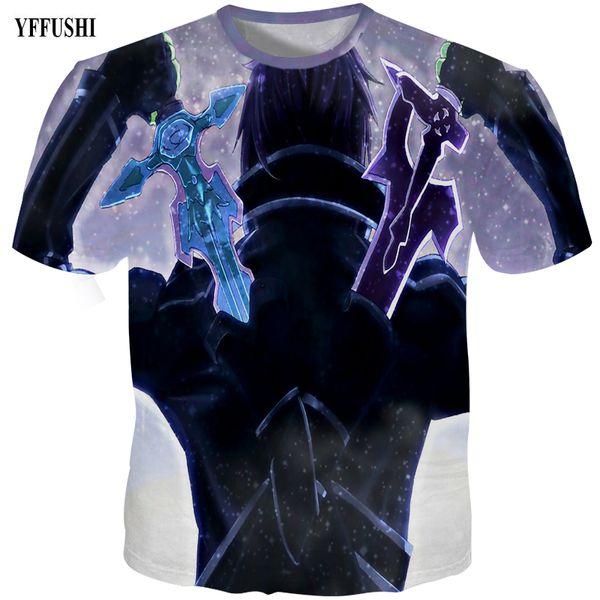 YFFUSHI 2018 Male 3d t shirt Men Fashion 3D Graphic Print Summer Anime T shirt Sword Art Online Print Hip Hop Tees Plus Size