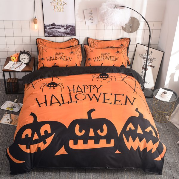 Pumpkin Bedding Set Happy Halloween Duvet Cover Pillowcases Orange Color Soft Polyester Bedclothes Twin Queen King Size