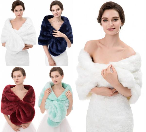 Cheap Bridal Wraps Fake Faux Fur Hollywood Glamour Wedding Jackets Wjite Cover up Cape Stole Coat Shrug Shawl Bolero CPA1614