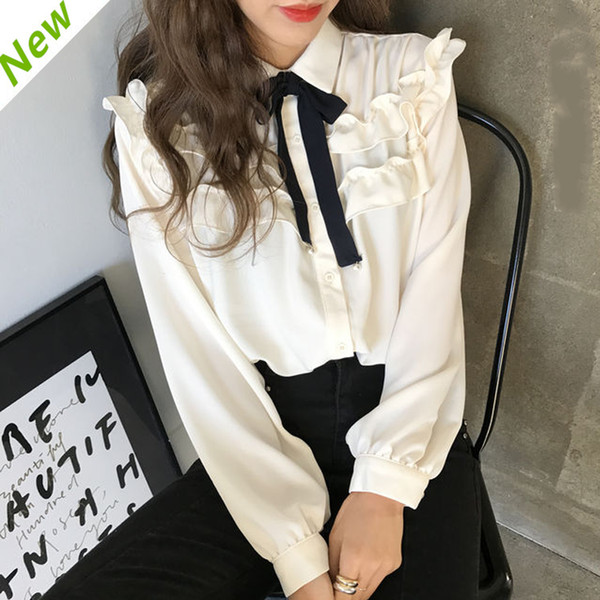 d169039b0 Ruched Hem Cute Bow Tie Chiffon Blouse Puff Sleeve Shirt Women Top Kawaii  Spring Chemise Femme