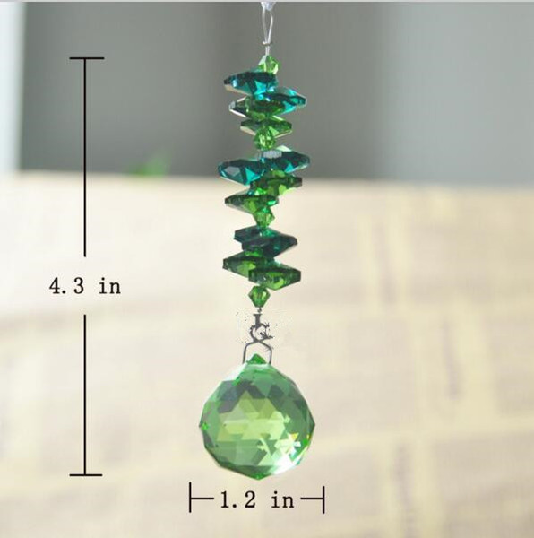 3 pcs Spherical Chandelier Glass K9 Crystals Lamp Lighting Prisms Parts Hanging Pendants Green