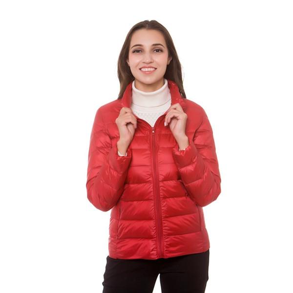 Nuevas chaquetas de plumón de otoño otoño invierno delgado soporte de cremallera estilo coreano tamaño grande hembra abrigos abajo Parkas ropa para mujer
