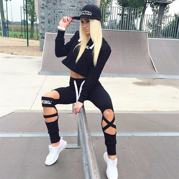 Daddy Chen Mujeres Chándales Summer Sport Suits Set Mujeres Running Sets Sportswear Hoodies + Calf-Length Pants 2 Piezas Set Sports
