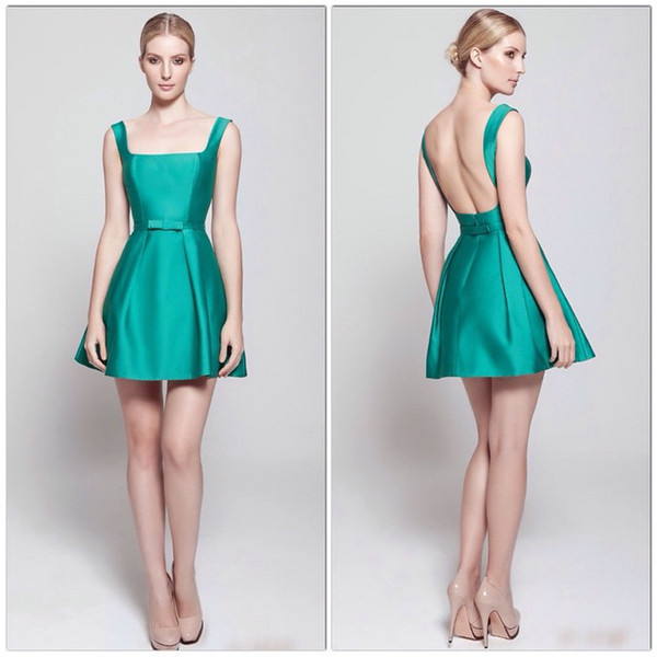 2018 New Arrival Green Short Satin Cocktail Party Dress Tank Backless Bow Belt Fashion Cocktail Dress Girls Dress