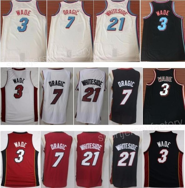 best website 3c11f d6f90 2018 Vice City Edition Basketball 3 Dwyane Wade Jerseys 7 Goran Dragic 21  Hassan Whiteside Jersey Men Red White Black Men Sport Uniform From ...