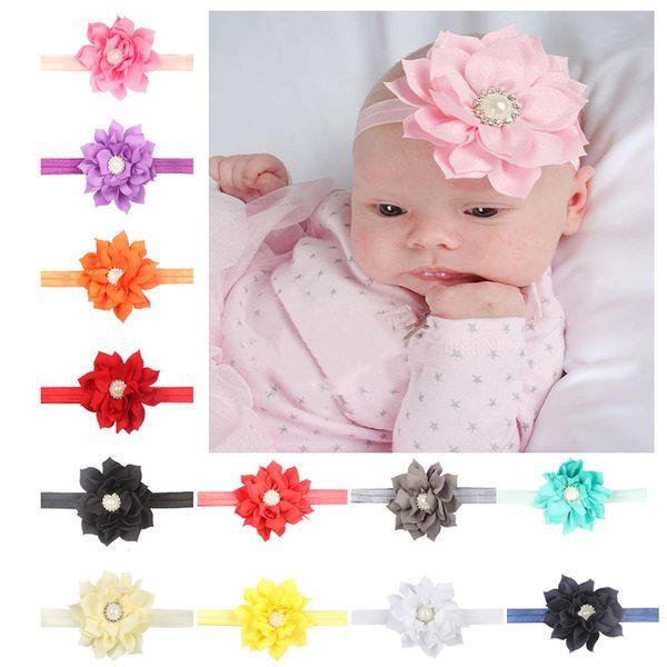 Baby Headband Chiffon Lotus Flower Diamond Decor Girls Crystal Hair Band Infant Children Headwear Hair accessories diademas bebe