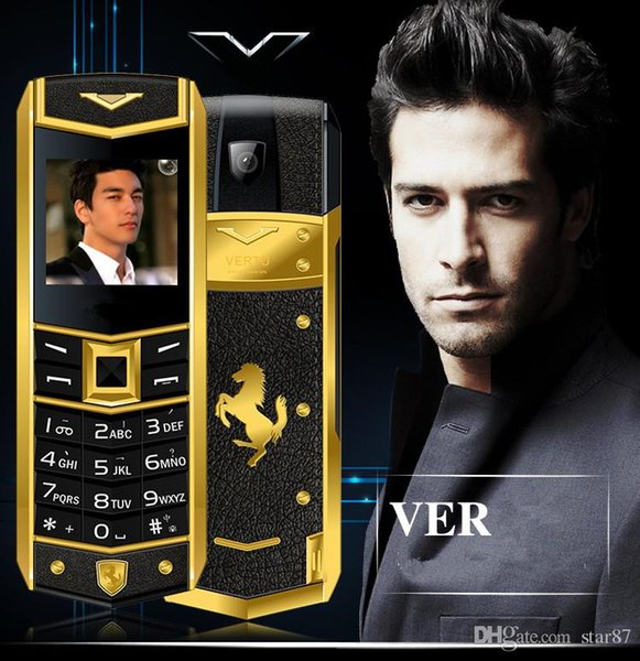 Hot Sale Unlocked super luxury mobile phone for man Women Dual sim card leather metal frame stainless steel cheap cell phone free case