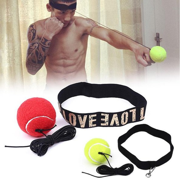 new fight exercise tennis ball boxing fitness training balls with head band yellow/red