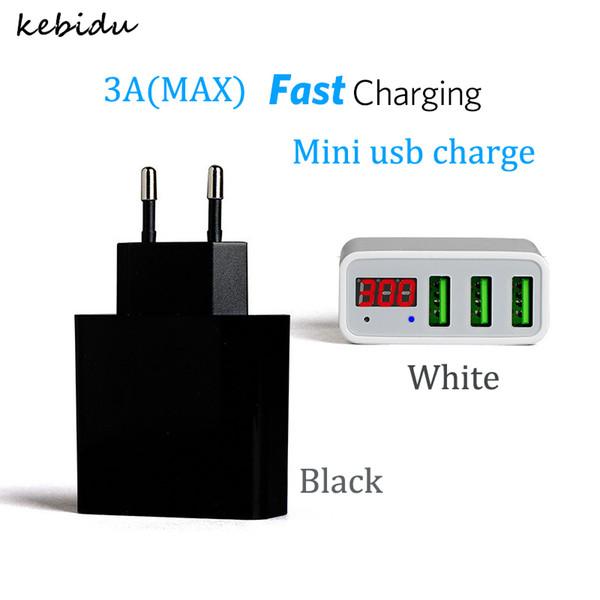 Kebidu 3 Portas Hub Carregador USB 3A UE EUA Plug USB Adaptador de Carregador de Parede de Viagem Do Telefone Móvel para Telefone Inteligente