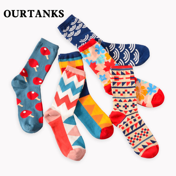 Happy socks English wind geometry collision personality lovers and men and women all cotton long tube socks