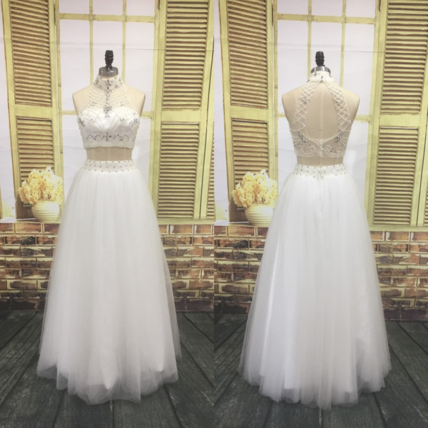 Spring 2018 Two Piece Prom Dresses Sexy Sheer High Neck Hollow Back Beading Crop Top A Line White Tulle Long Dresses Party Evening