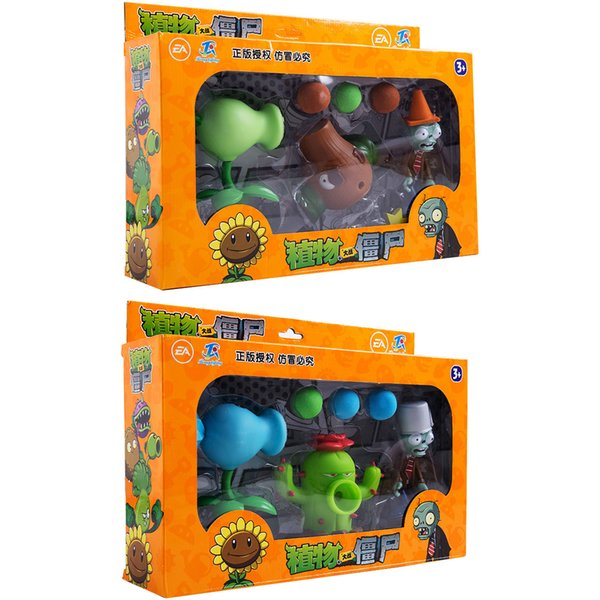 Plants vs Zombies Action Figure Toys Shooting Dolls 6-in-1 Set in Gift Box